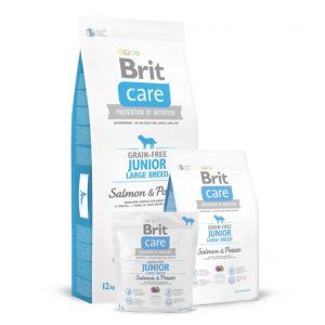 BRIT CARE Junior Large Breed Salmon&Potato begrūdis s. m.