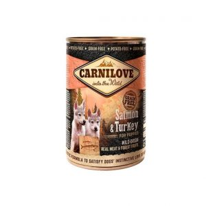 CARNI LOVE konservai jauniems šunims Wild Meat Salmon&Turkey for Puppies 400g