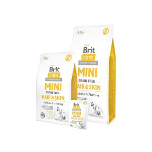 Brit Care Mini Hair&Skin begrūdis, hipoalerginis sausas m.