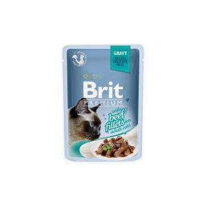 Brit Premium Cat Delicate konservai katėms maiš. Beef in Gravy 85g