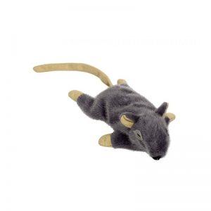 Žaislas katei pliušinė pilka pelė su katžole, 14,5 cm