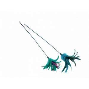 Žaislas katei plunksnos ant pagaliuko 59 cm