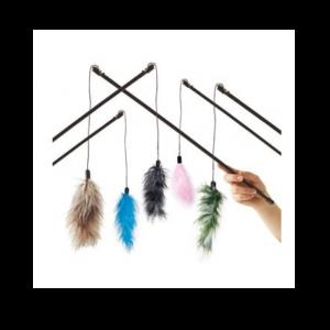 Žaislas katėms meškerė su plunksna, 60 cm