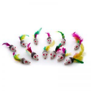 Žaislas katėms pelytė su natūraliu triušio kailiu ir plunksnų uodega