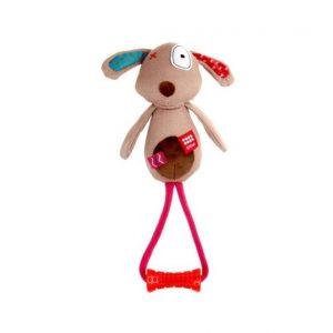 Žaislas GiGwi Plush Friendz Dog pliušinis šuo su rankena
