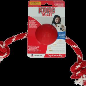 KONG BALL WITH ROPE interaktyvus žaislas šunims