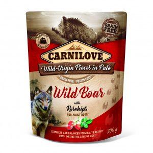 CARNI LOVE paštetas šunims Pate Wild Boar with Rosehips 300g
