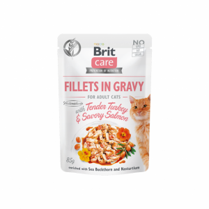 Brit Care Cat konservai katėms Fillets in Gravy Turkey & Salmon 85 g