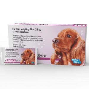 FIPRON 134mg užlašinamasis tirpalas šunims M 10-20kg nuo erkių ir blusų
