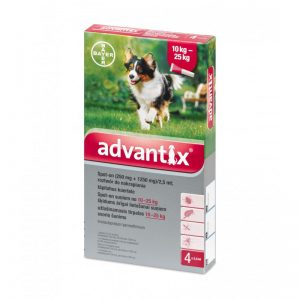 Advantix lašai šunims nuo erkių, blusų ir uodų (10-25kg)
