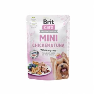 Brit Care Mini kons. šunims maišeliuose Chicken&Tuna fillets in gravy 85g