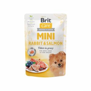 Brit Care Mini kons. šunims maišeliuose Rabbit&Salmon fillets in gravy 85g